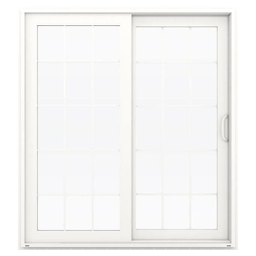 Shop jeld wen v 4500 71 5 in 15 lite glass white vinyl for Vinyl sliding glass doors