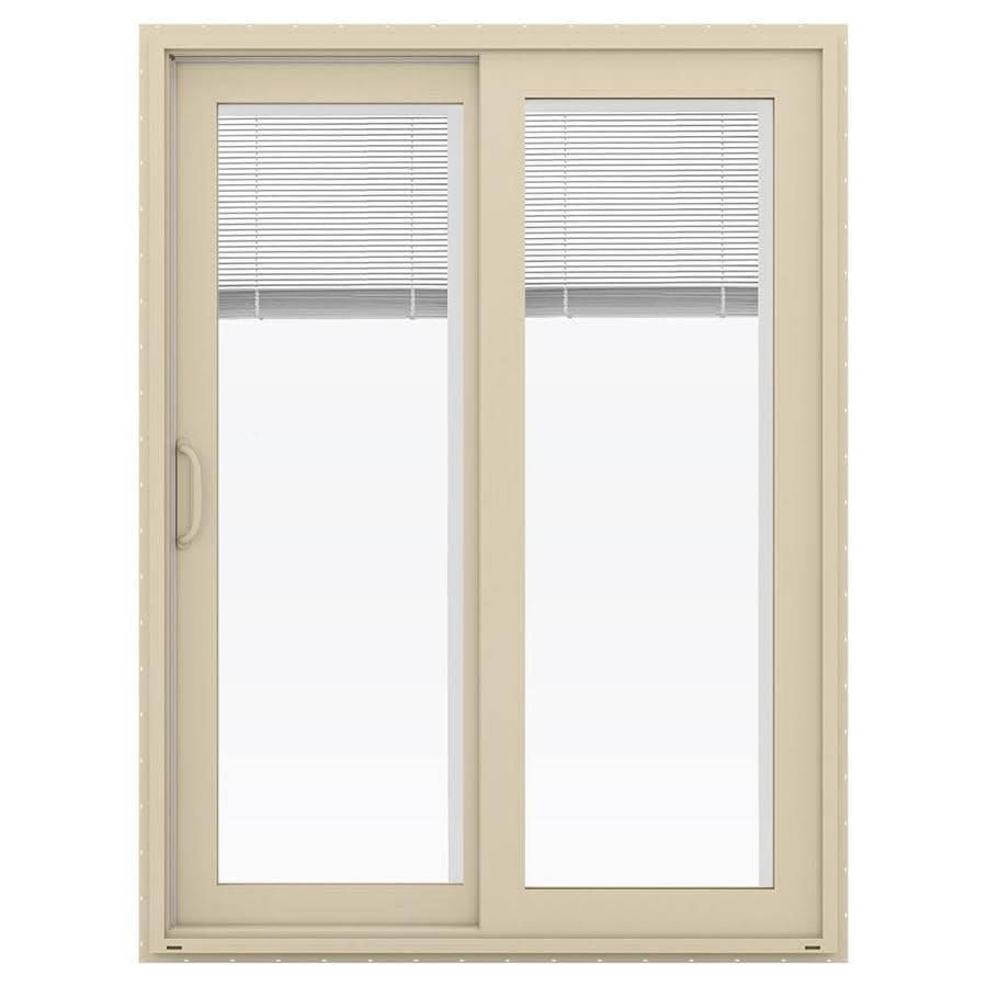 Shop Jeld Wen V 4500 59 5 In Blinds Between The Glass Almond Vinyl Sliding Patio Door With