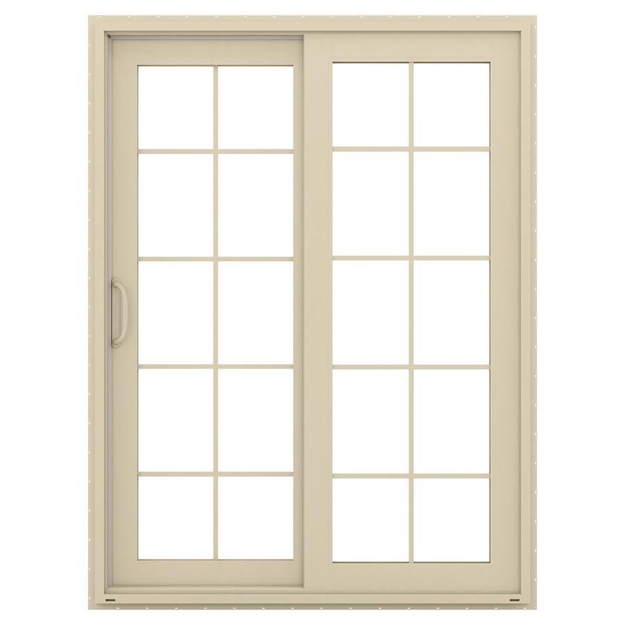 JELD-WEN V-4500 59.5-in 10-Lite Glass Almond Vinyl Sliding Patio Door with Screen