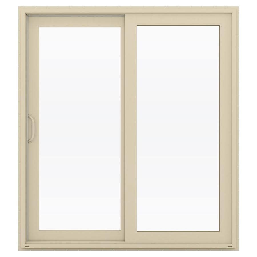 JELD-WEN V-4500 71.5-in 1-Lite Glass Almond Vinyl Sliding Patio Door with Screen
