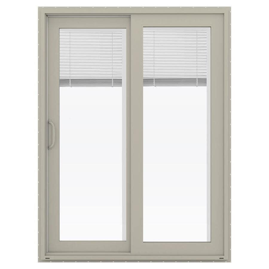 JELD-WEN V-4500 59.5-in Blinds Between the Glass Desert Sand Vinyl Sliding Patio Door with Screen
