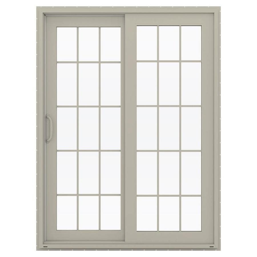 JELD-WEN V-4500 59.5-in 15-Lite Glass Desert Sand Vinyl Sliding Patio Door with Screen
