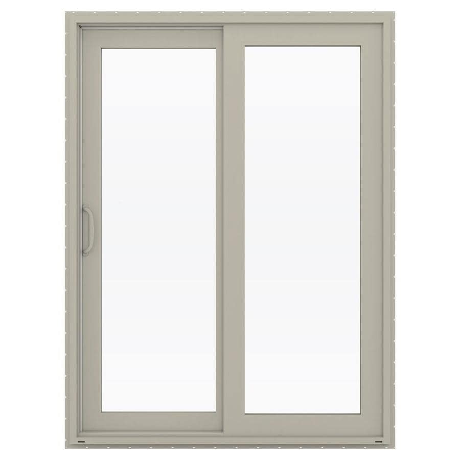 JELD-WEN V-4500 59.5-in 1-Lite Glass Desert Sand Vinyl Sliding Patio Door with Screen