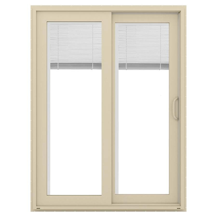 JELD-WEN V-4500 59.5-in Blinds Between the Glass Almond Vinyl Sliding Patio Door with Screen