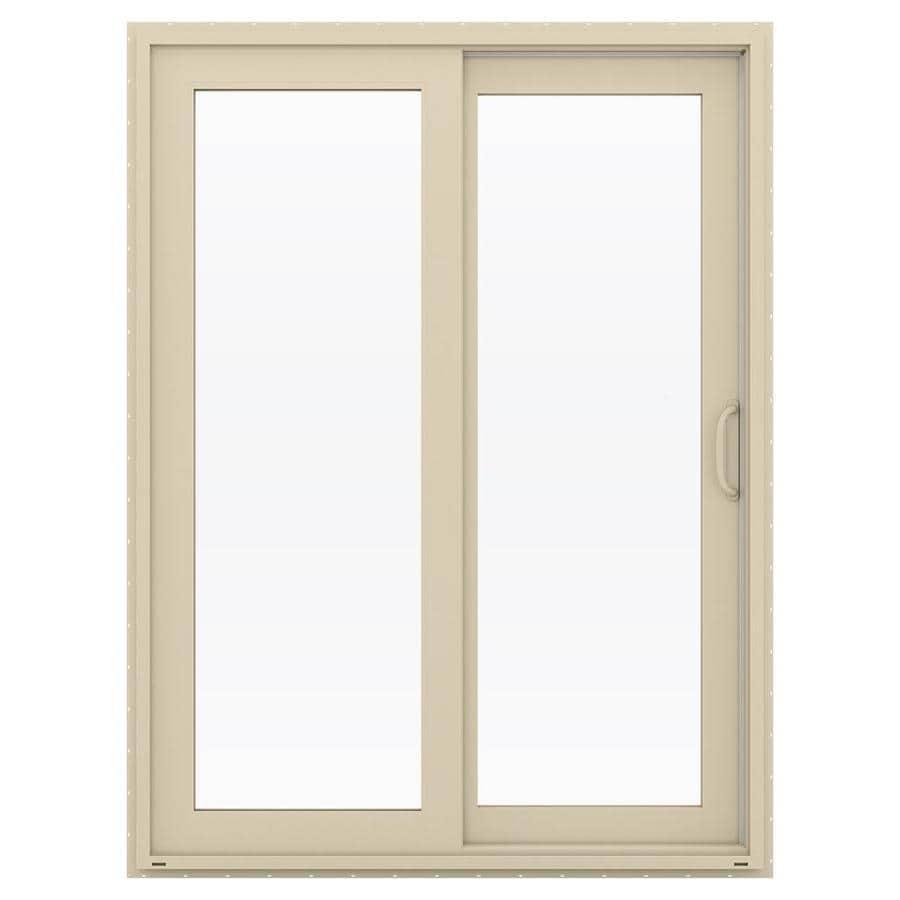 JELD-WEN V-4500 59.5-in 1-Lite Glass Almond Vinyl Sliding Patio Door with Screen