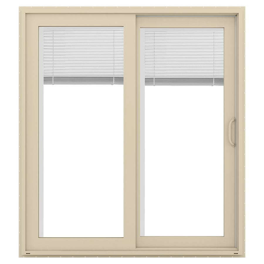 JELD-WEN V-4500 71.5-in Blinds Between the Glass Almond Vinyl Sliding Patio Door with Screen