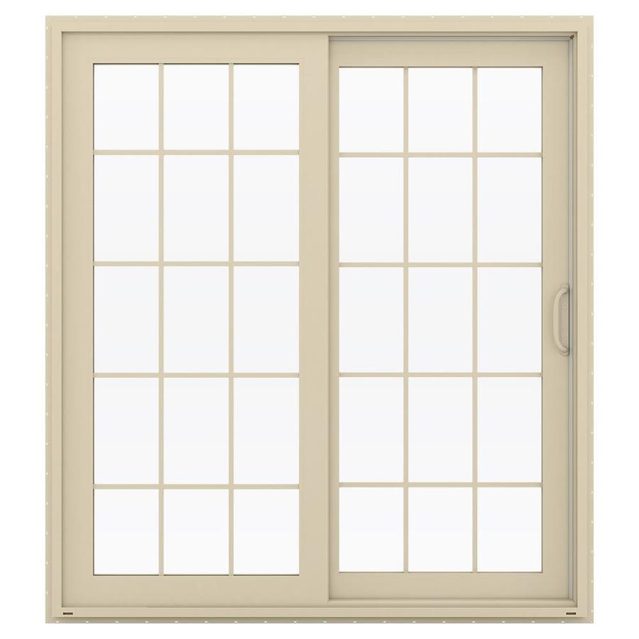 JELD-WEN V-4500 71.5-in 15-Lite Glass Almond Vinyl Sliding Patio Door with Screen