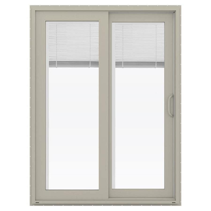 JELD-WEN V-4500 59.5-in x 79.5-in Blinds Between the Glass Right-Hand Vinyl Sliding Patio Door with Screen