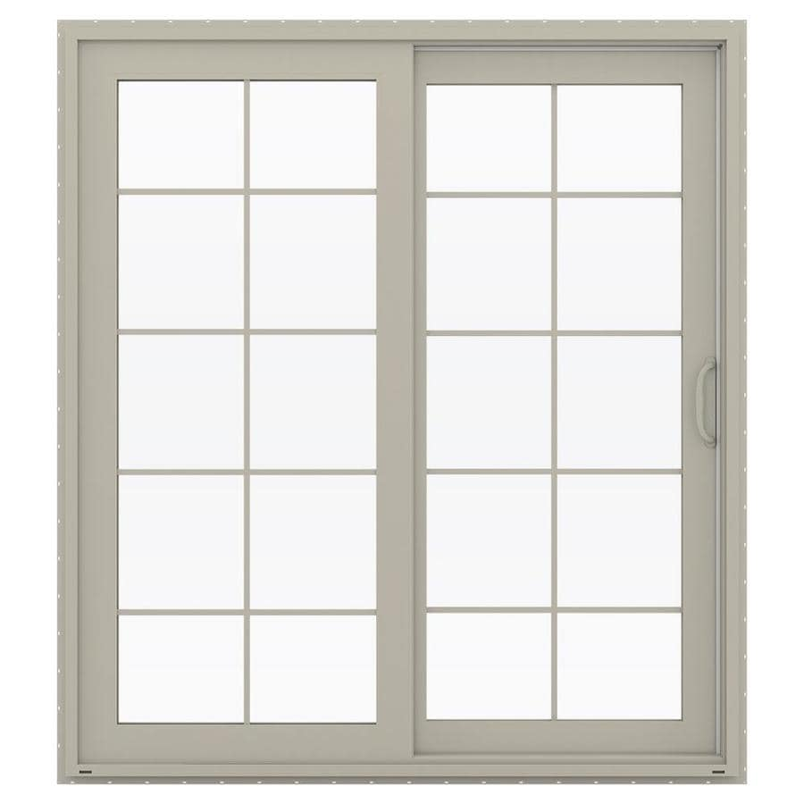 JELD-WEN V-4500 71.5-in 10-Lite Glass Desert Sand Vinyl Sliding Patio Door with Screen