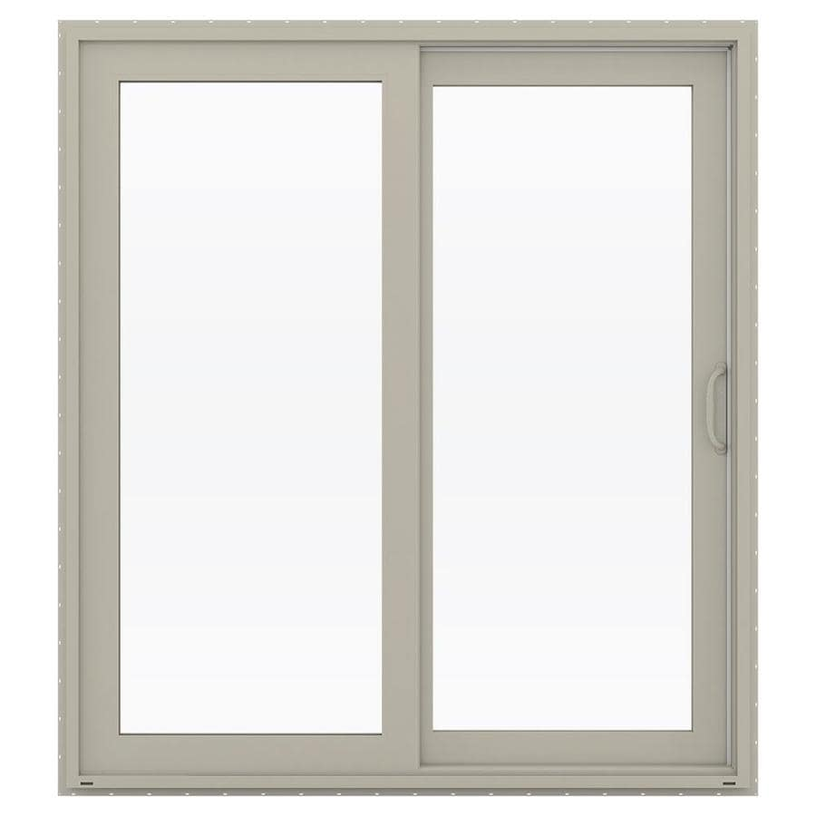 JELD-WEN V-4500 71.5-in 1-Lite Glass Desert Sand Vinyl Sliding Patio Door with Screen