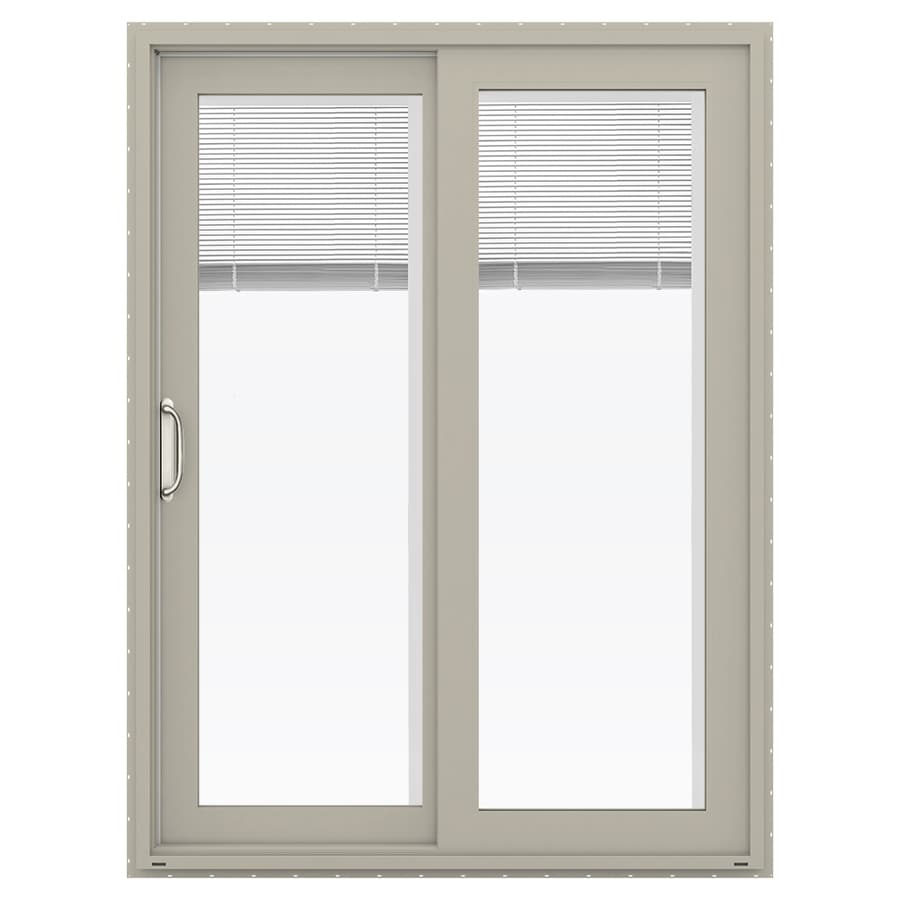 JELD-WEN V-4500 59.5-in x 79.5-in Blinds Between the Glass Left-Hand Vinyl Sliding Patio Door with Screen