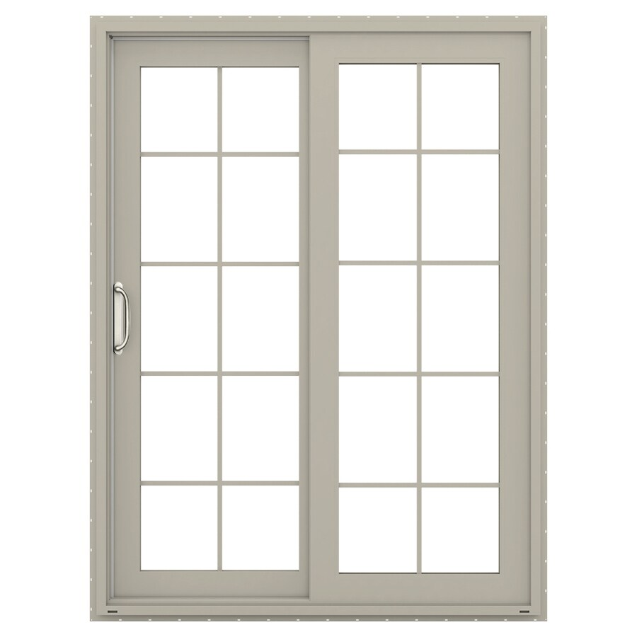JELD-WEN V-4500 59.5-in 10-Lite Glass Desert Sand Vinyl Sliding Patio Door with Screen