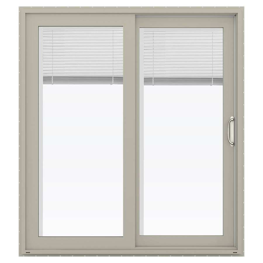 JELD-WEN V-4500 71.5-in Blinds Between the Glass Desert Sand Vinyl Sliding Patio Door with Screen