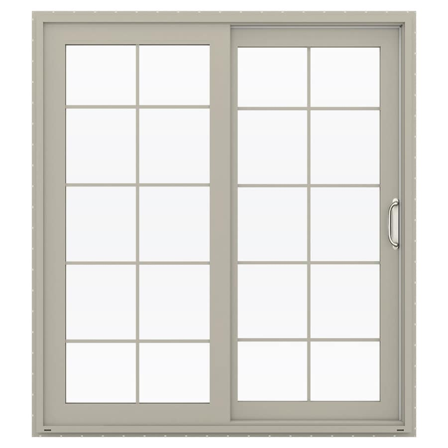 JELD-WEN V-4500 71.5-in 10-Lite Glass Desert Sand Vinyl Sliding Patio Door with Screen