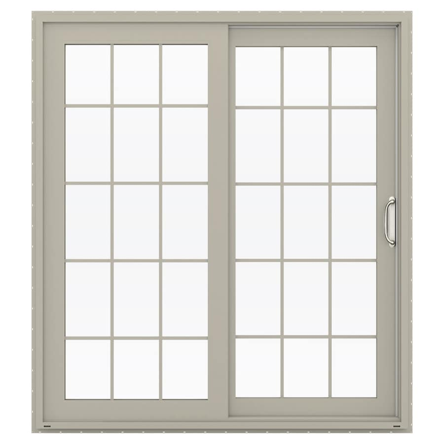 JELD-WEN V-4500 71.5-in 15-Lite Glass Desert Sand Vinyl Sliding Patio Door with Screen