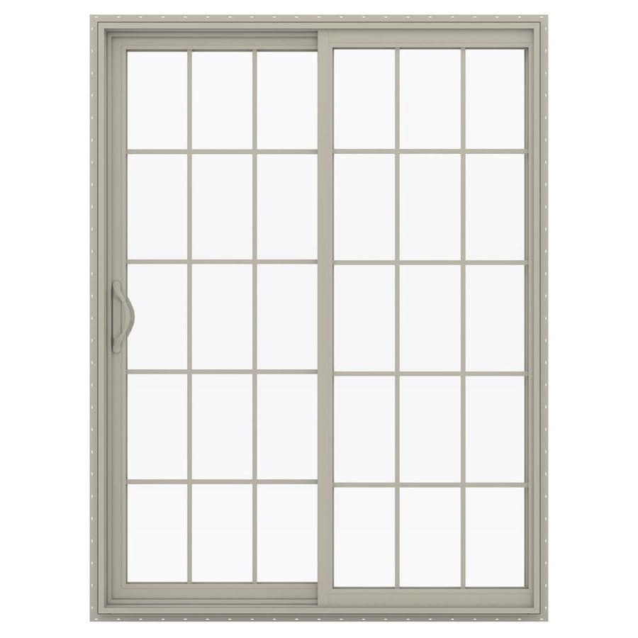 JELD-WEN V-2500 59.5-in 15-Lite Glass Desert Sand Vinyl Sliding Patio Door with Screen