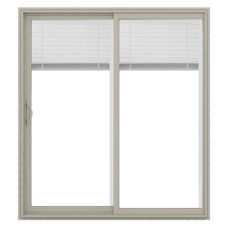 JELD-WEN V-2500 71.5-in Blinds Between the Glass Desert Sand Vinyl Sliding Patio Door with Screen