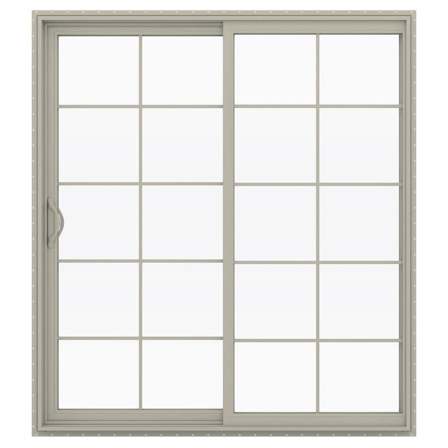 JELD-WEN V-2500 71.5-in 10-Lite Glass Desert Sand Vinyl Sliding Patio Door with Screen