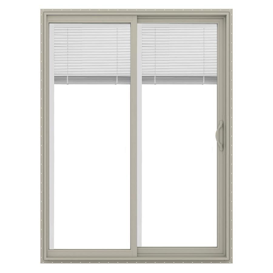 JELD-WEN V-2500 59.5-in Blinds Between the Glass Desert Sand Vinyl Sliding Patio Door with Screen