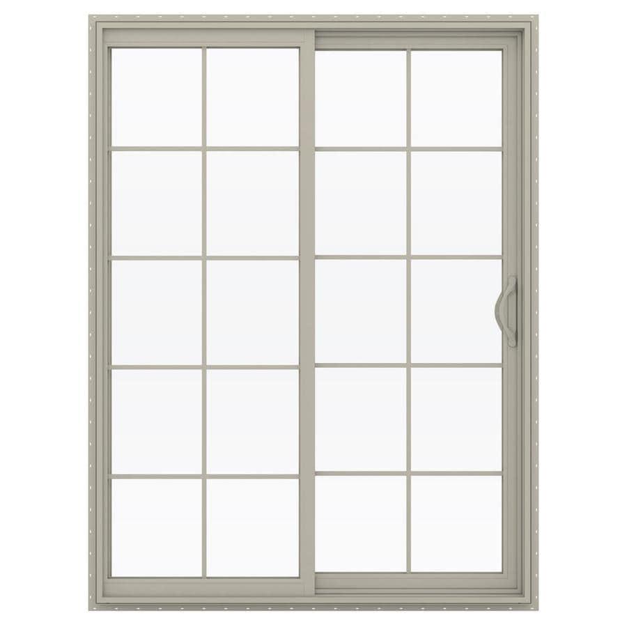 JELD-WEN V-2500 59.5-in 10-Lite Glass Desert Sand Vinyl Sliding Patio Door with Screen