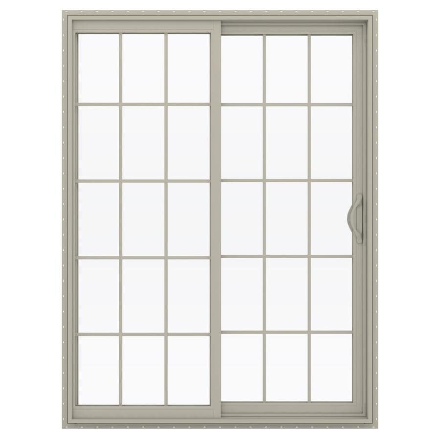 JELD-WEN V-2500 59.5-in 15-Lite Glass Desert Sand Vinyl Sliding Patio Door with Screen