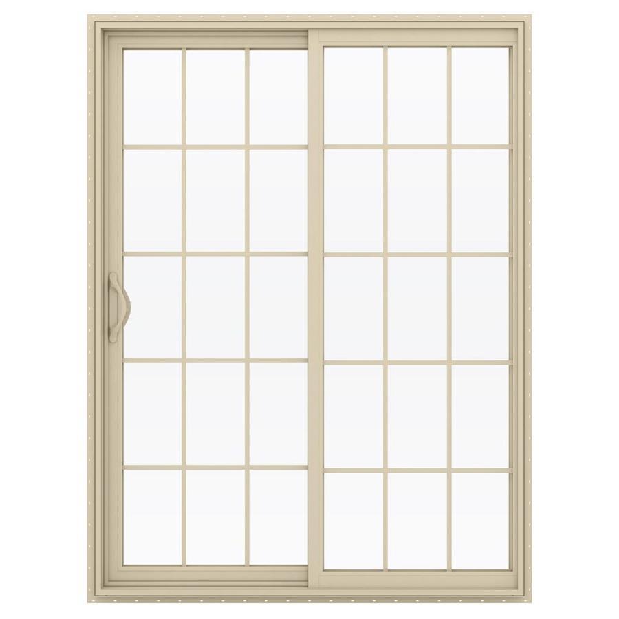 JELD-WEN V-2500 59.5-in 15-Lite Glass Almond Vinyl Sliding Patio Door with Screen
