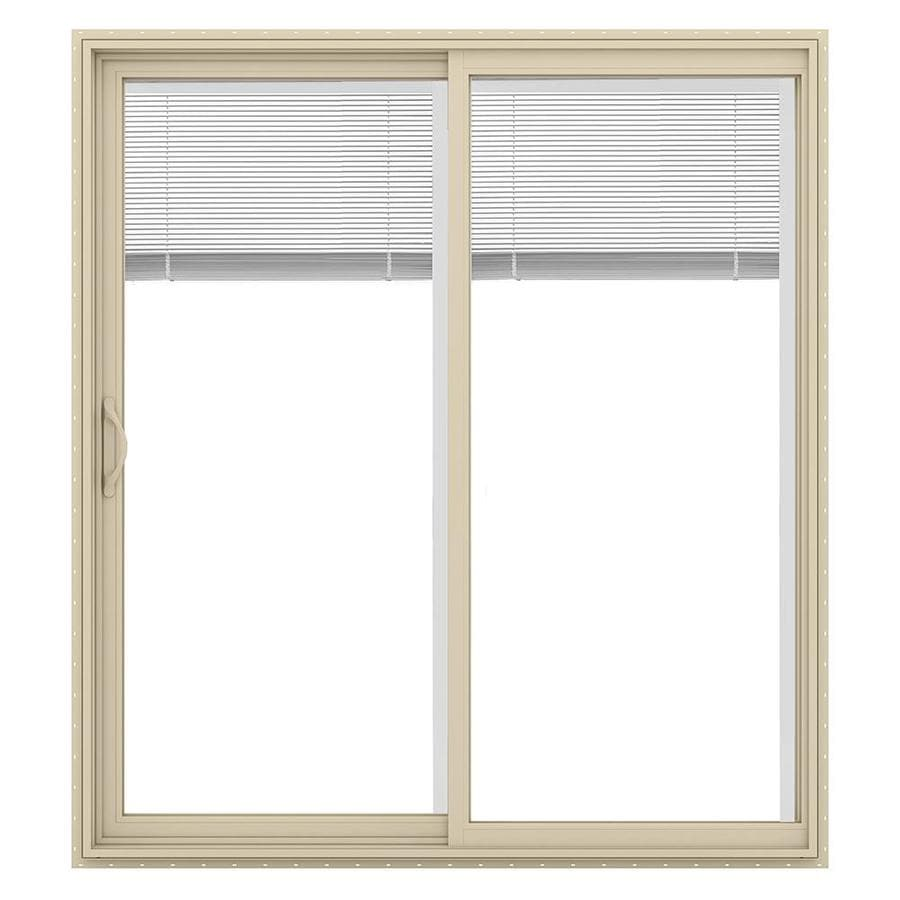 JELD-WEN V-2500 71.5-in Blinds Between the Glass Almond Vinyl Sliding Patio Door with Screen