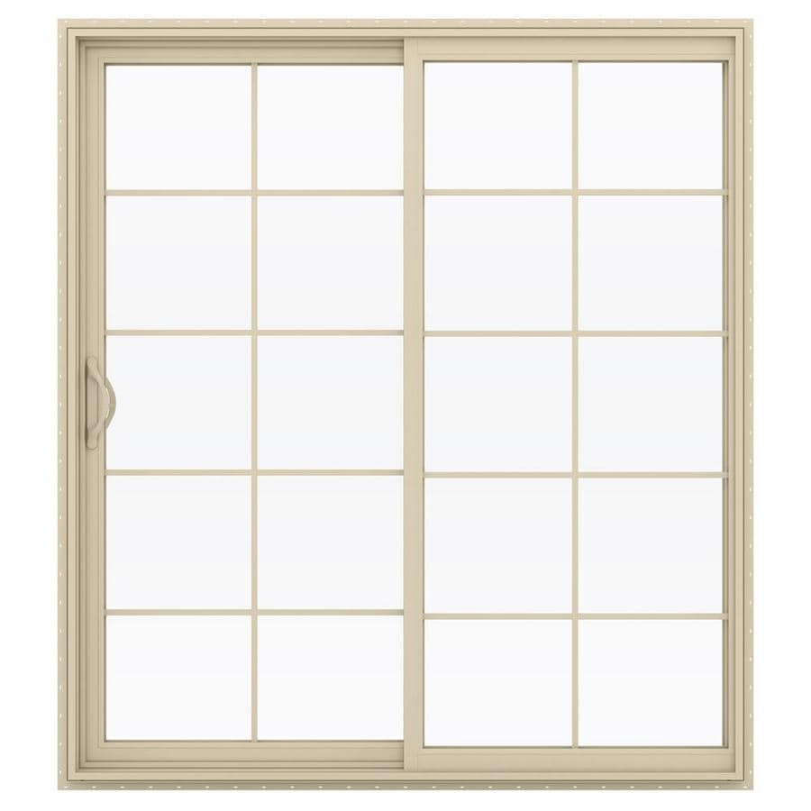 JELD-WEN V-2500 71.5-in 10-Lite Glass Almond Vinyl Sliding Patio Door with Screen