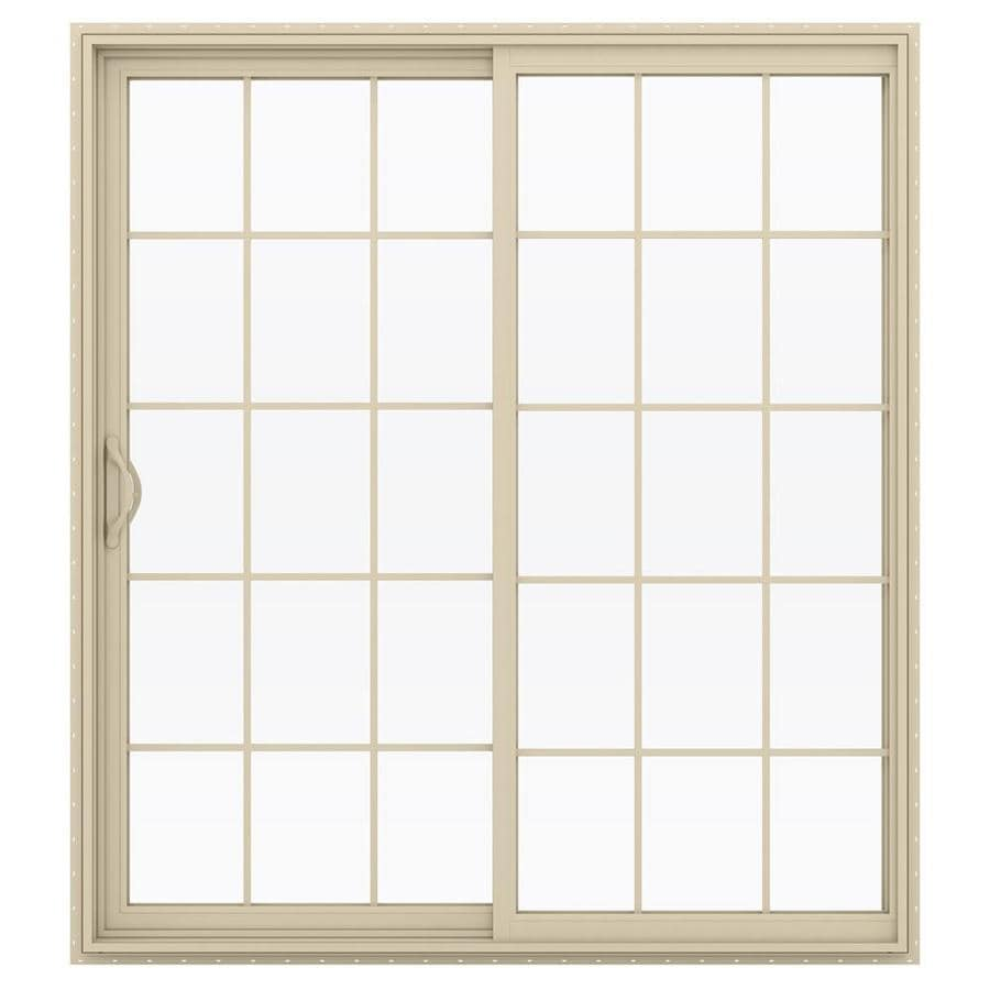 JELD-WEN V-2500 71.5-in 15-Lite Glass Almond Vinyl Sliding Patio Door with Screen