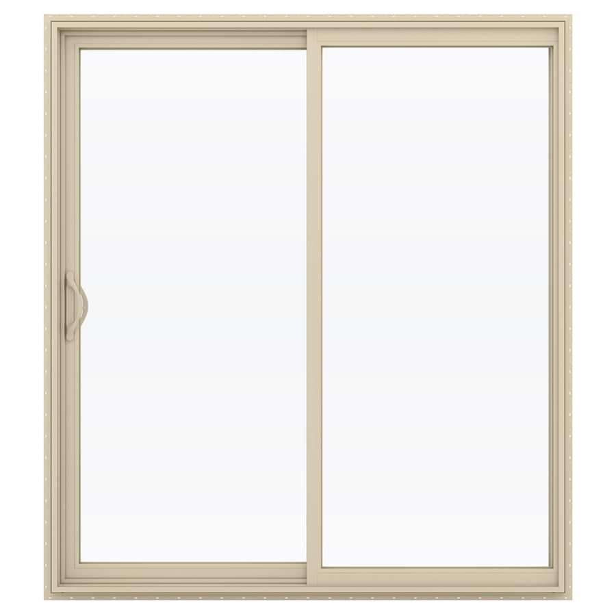 JELD-WEN V-2500 71.5-in 1-Lite Glass Almond Vinyl Sliding Patio Door with Screen