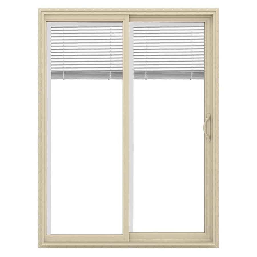 JELD-WEN V-2500 59.5-in x 79.5-in Blinds Between the Glass Right-Hand Vinyl Sliding Patio Door with Screen