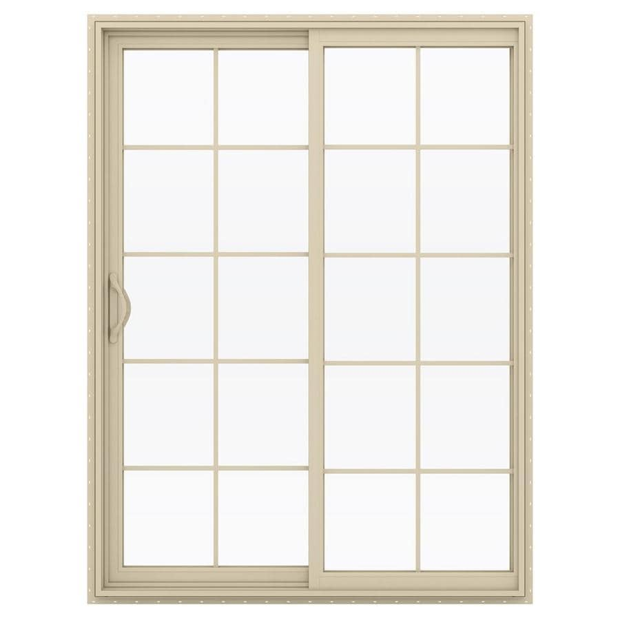 JELD-WEN V-2500 59.5-in 10-Lite Glass Almond Vinyl Sliding Patio Door with Screen