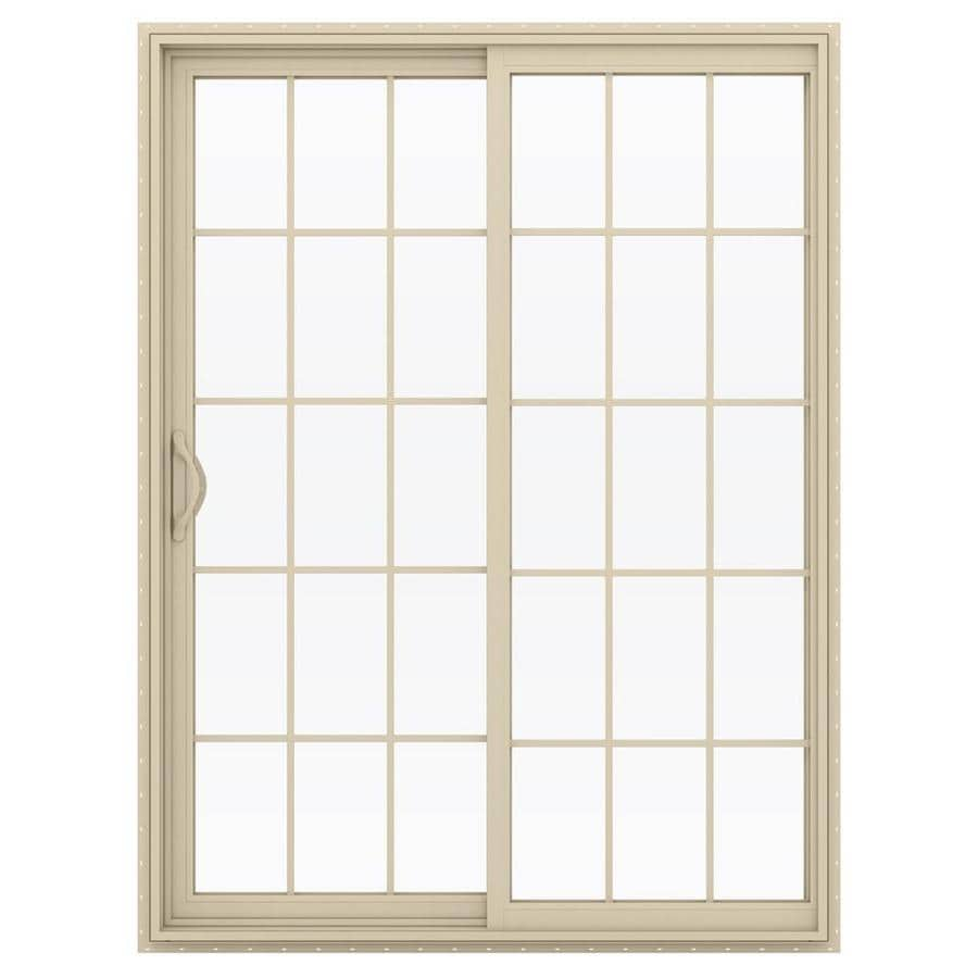 Shop jeld wen v 2500 59 5 in 15 lite glass almond vinyl for Vinyl sliding glass doors