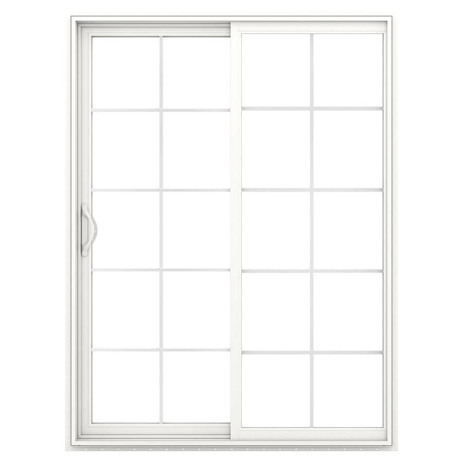 JELD-WEN V-2500 59.5-in 10-Lite Glass White Vinyl Sliding Patio Door with Screen