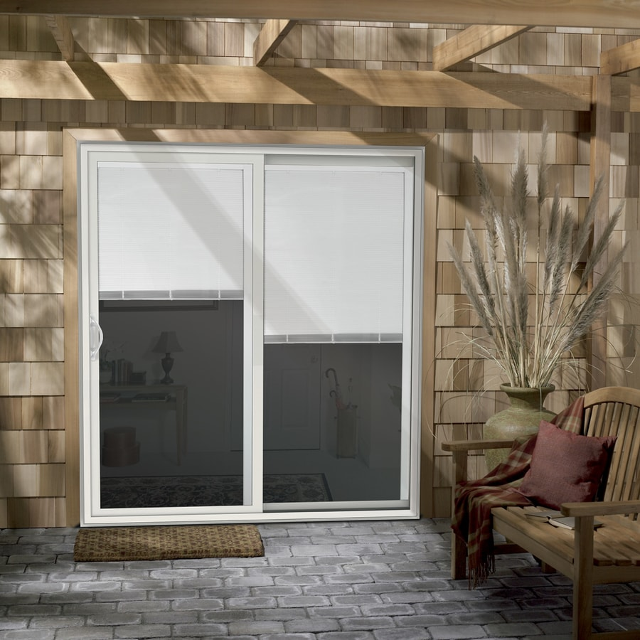 JELD-WEN V-2500 71.5-in Blinds Between the Glass White Vinyl Sliding Patio Door with Screen