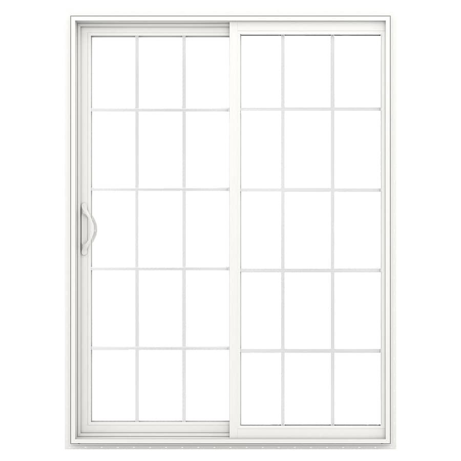 JELD-WEN V-2500 71.5-in 15-Lite Glass White Vinyl Sliding Patio Door with Screen