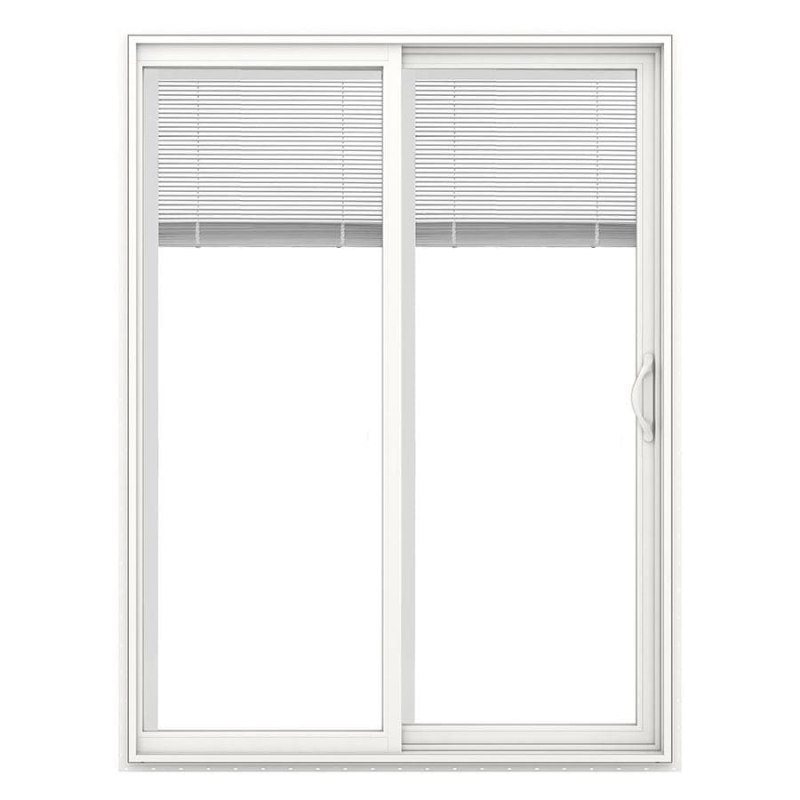 JELD-WEN V-2500 59.5-in Blinds Between the Glass White Vinyl Sliding Patio Door with Screen