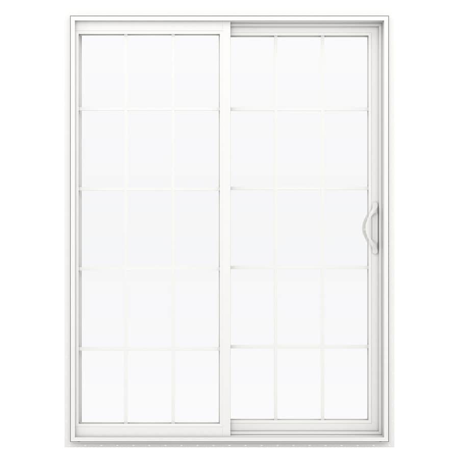 Shop jeld wen v 2500 59 5 in 15 lite glass white vinyl for White sliding patio doors