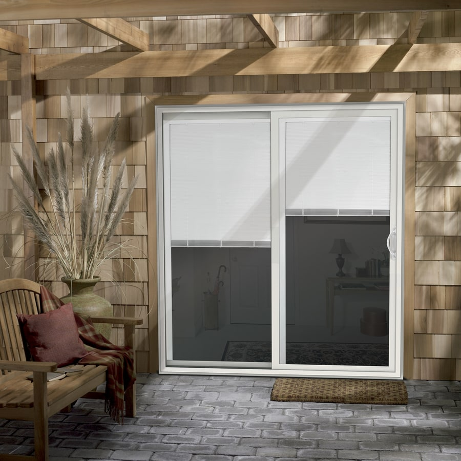 Shop Jeld Wen V 2500 71 5 In X 79 5 In Blinds Between The Glass Right Hand White Vinyl Sliding