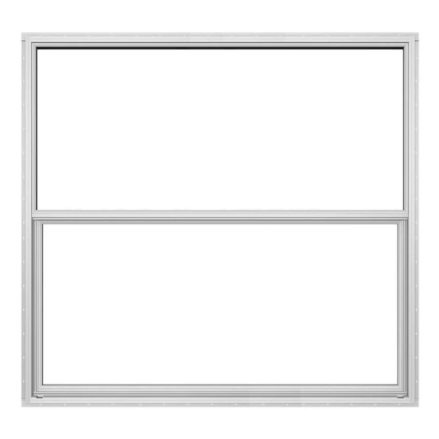 JELD-WEN Builders Florida Aluminum Double Pane Double Strength Single Hung Window (Rough Opening: 52.625-in x 50.125-in; Actual: 52.125-in x 49.625-in)