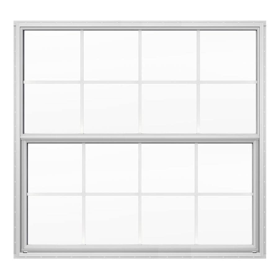 JELD-WEN Builders Florida Aluminum Aluminum Double Pane Double Strength Single Hung Window (Rough Opening: 52.625-in x 50.125-in; Actual: 52.125-in x 49.625-in)