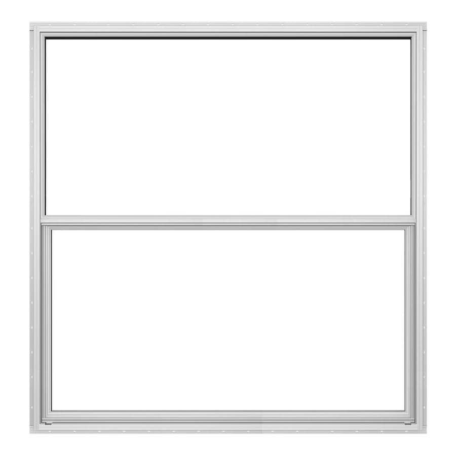 JELD-WEN Builders Florida Aluminum Aluminum Double Pane Double Strength Single Hung Window (Rough Opening: 36-in x 36-in; Actual: 35.5-in x 35.5-in)
