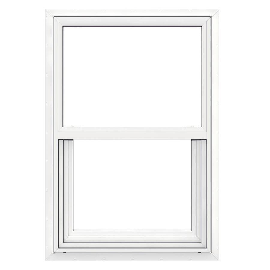 JELD-WEN Builders Vinyl Double Pane Double Strength New Construction Single Hung Window (Rough Opening: 24-in x 36-in; Actual: 23.5-in x 35.5-in)