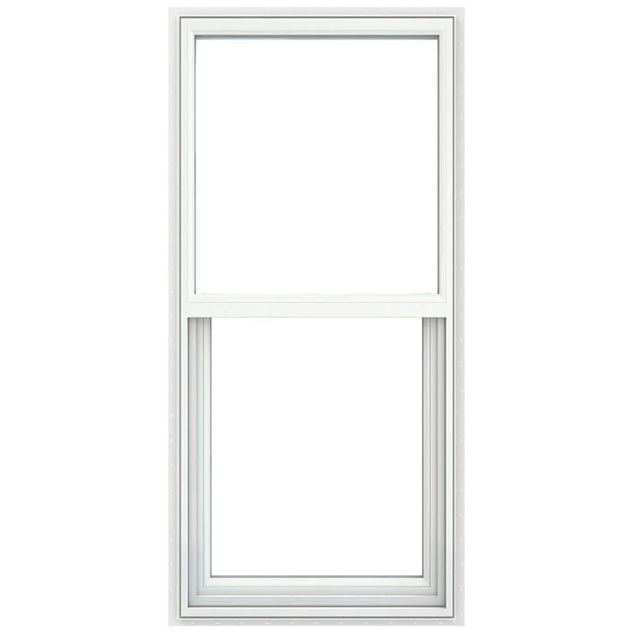 JELD-WEN Builders Vinyl Vinyl Double Pane Double Strength Single Hung Window (Rough Opening: 28-in x 52-in; Actual: 27.5-in x 51.5-in)