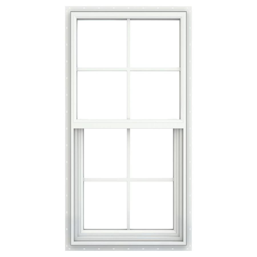 JELD-WEN Builders Vinyl Double Pane Double Strength New Construction Single Hung Window (Rough Opening: 28-in x 52-in; Actual: 27.5-in x 51.5-in)
