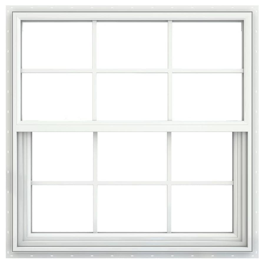 JELD-WEN Builders Vinyl Vinyl Double Pane Double Strength Single Hung Window (Rough Opening: 36-in x 36-in; Actual: 35.5-in x 35.5-in)