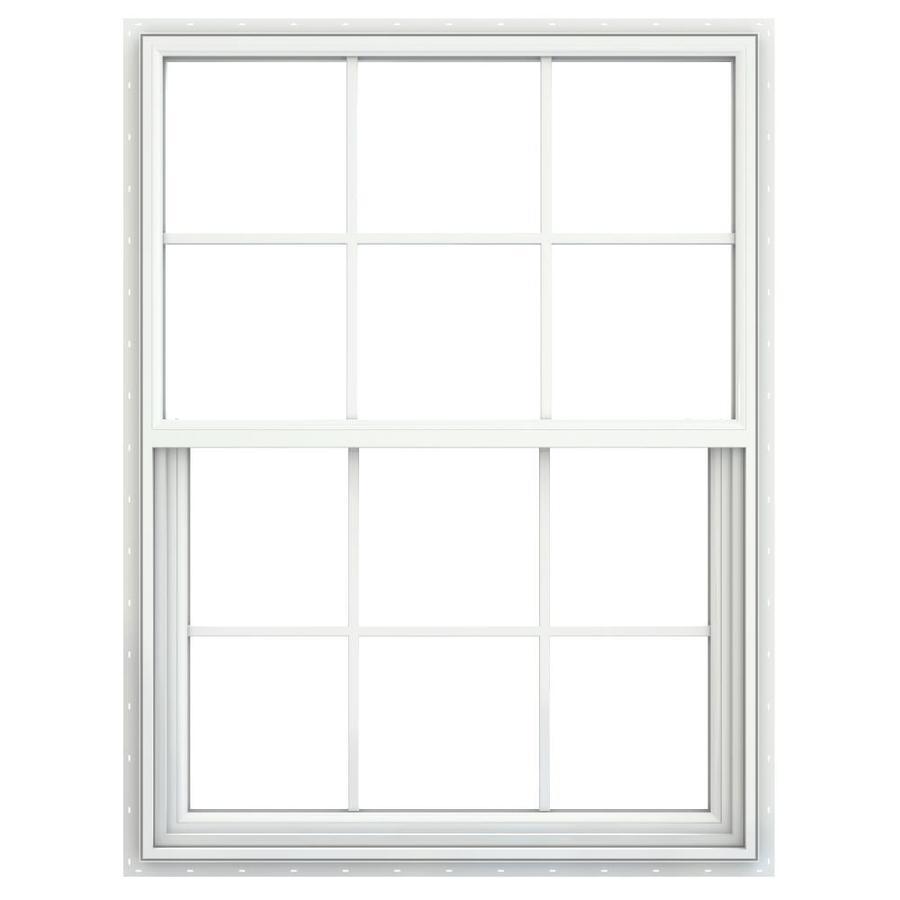 JELD-WEN Builders Vinyl Double Pane Double Strength New Construction Single Hung Window (Rough Opening: 36-in x 48-in; Actual: 35.5-in x 47.5-in)