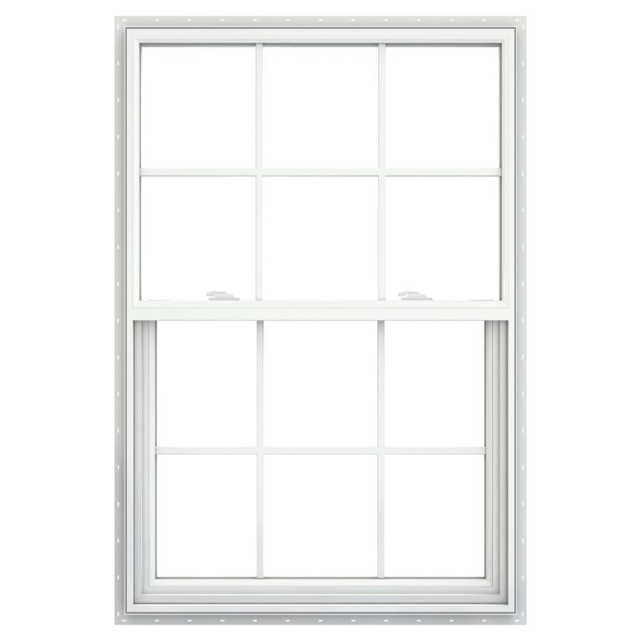 JELD-WEN Builders Vinyl Vinyl Double Pane Double Strength Single Hung Window (Rough Opening: 36-in x 52-in; Actual: 35.5-in x 51.5-in)