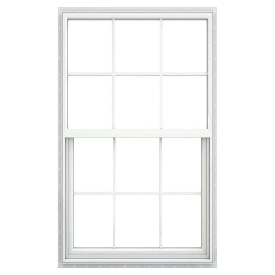 Jeld Wen Builders Vinyl Egress New Construction White Exterior Single Hung Window Rough Opening