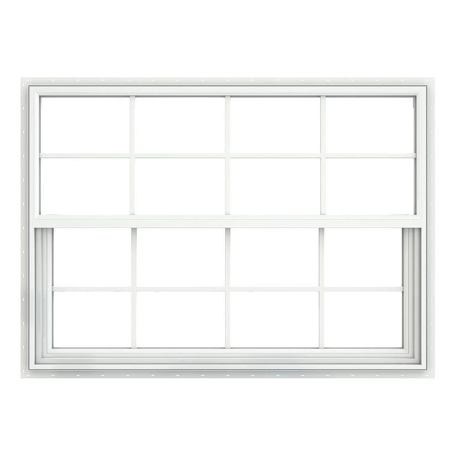 JELD-WEN Builders Vinyl Double Pane Double Strength Single Hung Window (Rough Opening: 52.375-in x 37.625-in; Actual: 51.875-in x 37.125-in)